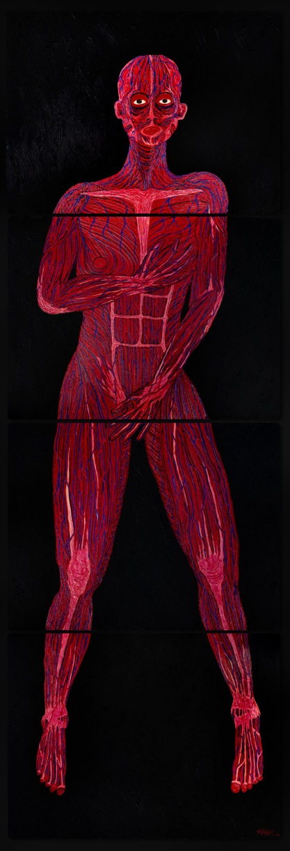 Untitled SELF PORTRAIT study II 2009 oil,acrylic on canvas 4 pieces 80 x 60cm